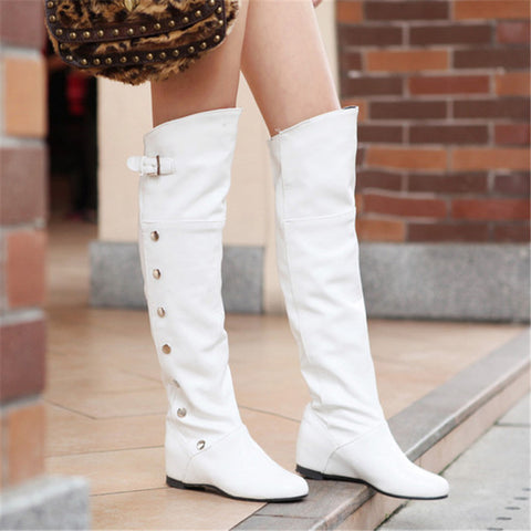 Finalpink Fashion Pure Color High Cylinder Low Heeled Over The Knee Boot
