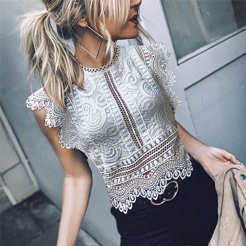 Sexy Women's Lace Openwork Short Shirt