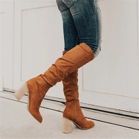 Women's solid color side zip high boots