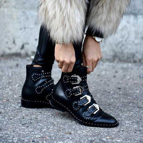 Women's fashion black studded ankle boots