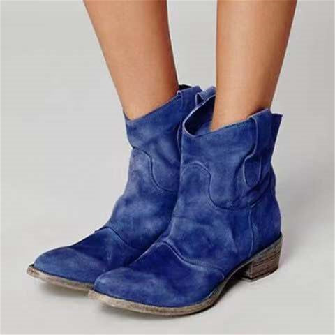 Women's Vintage Solid Color Ankle Boots