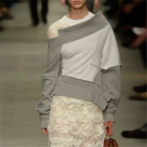 Fashion Street Style Wind Asymmetric Contrast Sweater