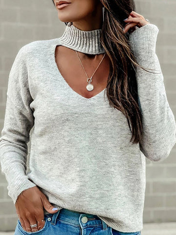Casual ladies solid color hanging neck V-neck sweater
