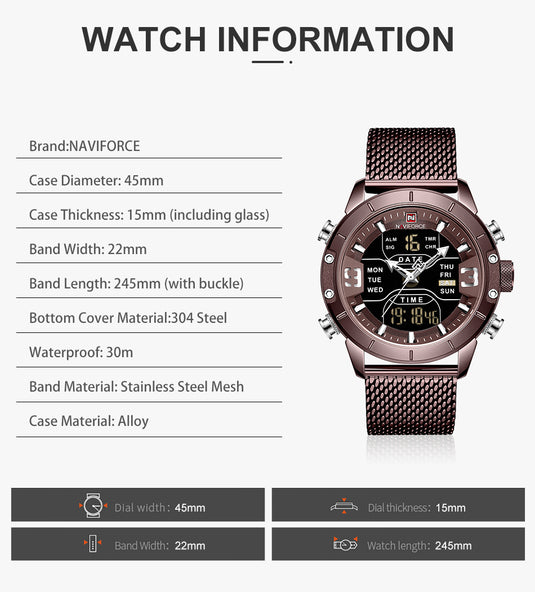 Quartz-Watch Sports Military Digital - LXMall
