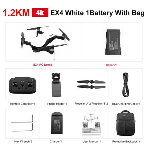 Drone Gimbal -  EX4 5G WIFI 1.2KM FPV GPS With 4K HD Camera - LXMall