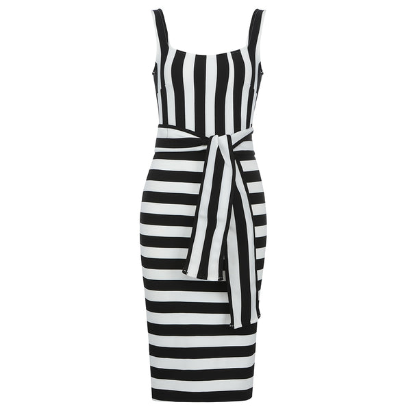 Vestido Listras Black and White - LXMall