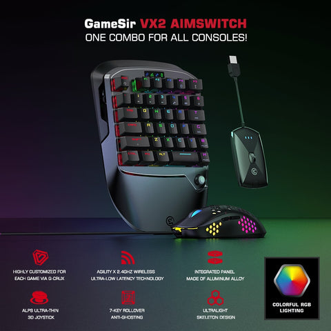 VX2 AimSwitch Gaming Keyboard Mouse e adaptador para Xbox One / PS4 / Nintendo Switch para jogos de console PUBG COD - LXMall