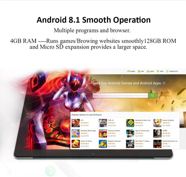 "Tablet ANRY Newest K30 10.6"" Android 8.1 OS 4GB RAM 128GB ROM - LXMall"