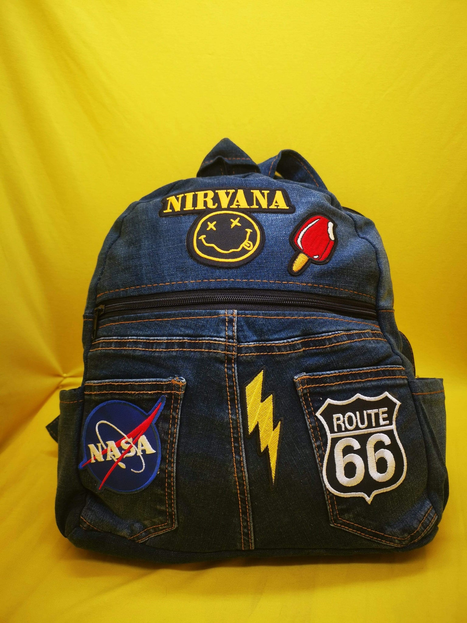 Denim Backpack with patches (Small)