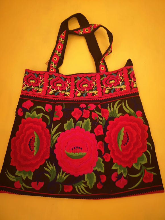 Bag Hmong embroidered XL Black Flower bag Kwaito Koeksister