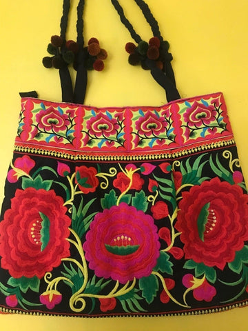 Hmong embroidered XL Black Flower bag