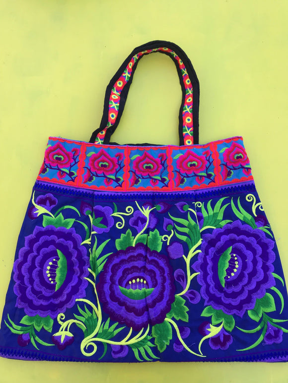 Bag Hmong embroidered XL Dark Blue Flower bag Kwaito Koeksister
