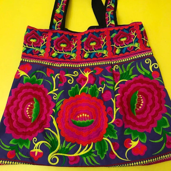 Bag Hmong embroidered XL Dark Blue & Pink Flower bag Kwaito Koeksister