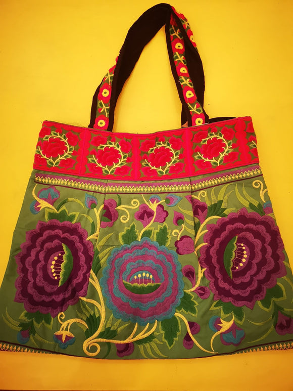 Bag Hmong embroidered XL Green Flower bag Kwaito Koeksister