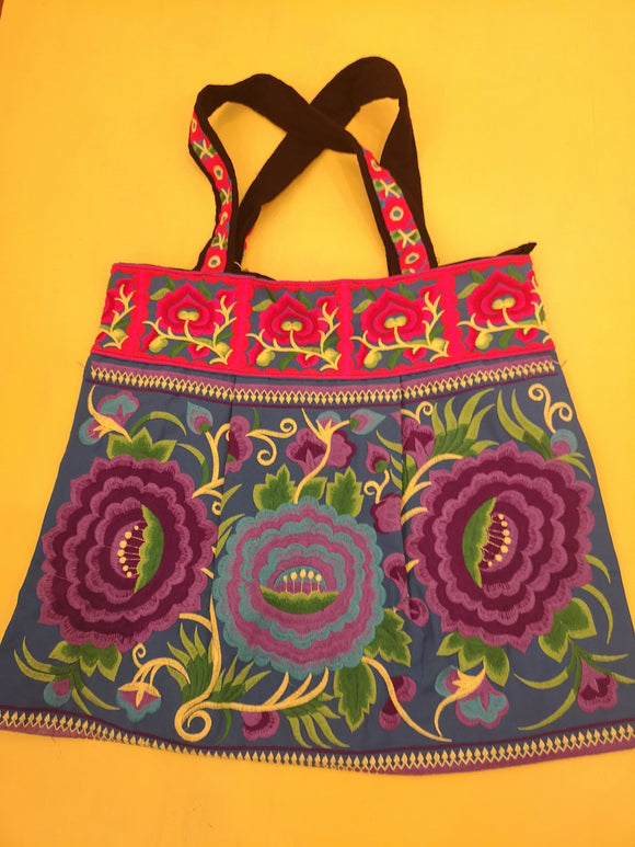 Bag Hmong embroidered XL Light blue Flower bag Kwaito Koeksister