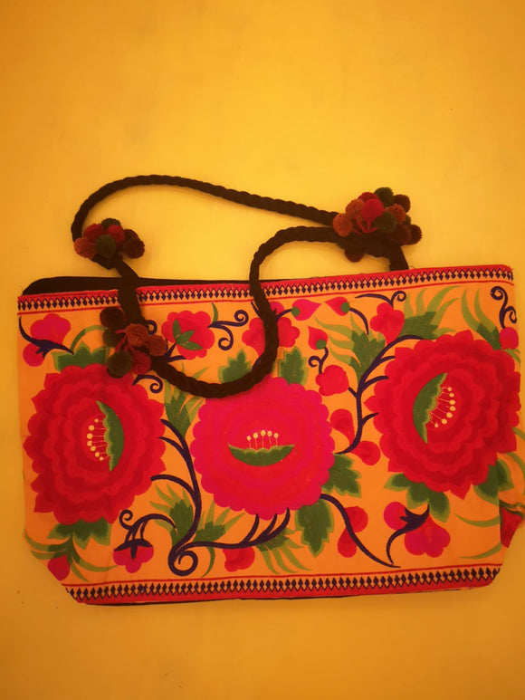 Bag Hmong embroidered XL Light orange Flower bag Kwaito Koeksister