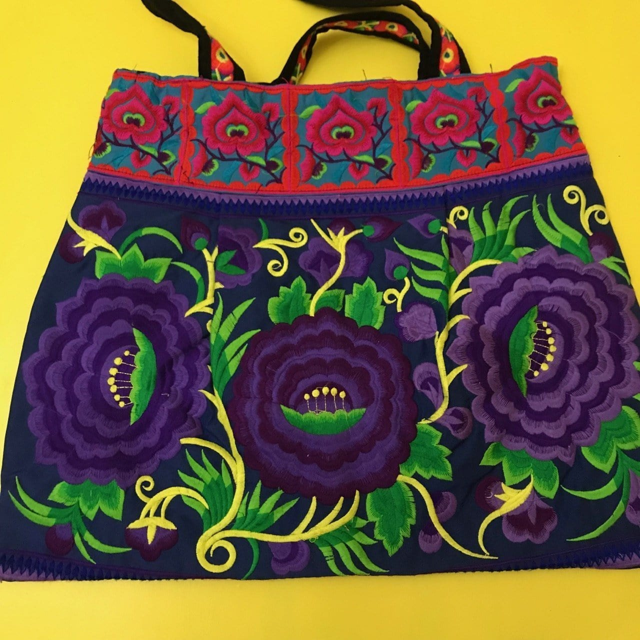 Hmong embroidered XL Purple Flower bag