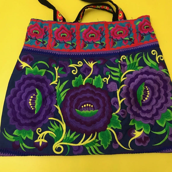 Bag Hmong embroidered XL Purple Flower bag Kwaito Koeksister