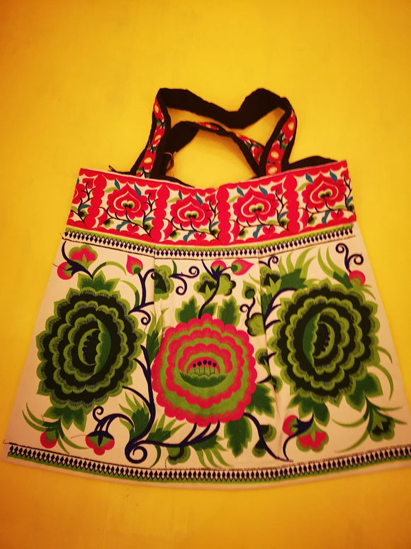 Bag Hmong embroidered XL White Flower bag Kwaito Koeksister