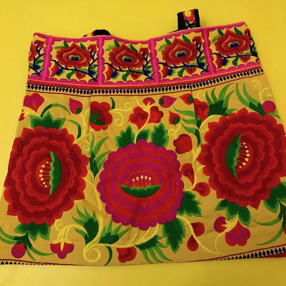 Bag Hmong embroidered XL Yellow Flower bag Kwaito Koeksister