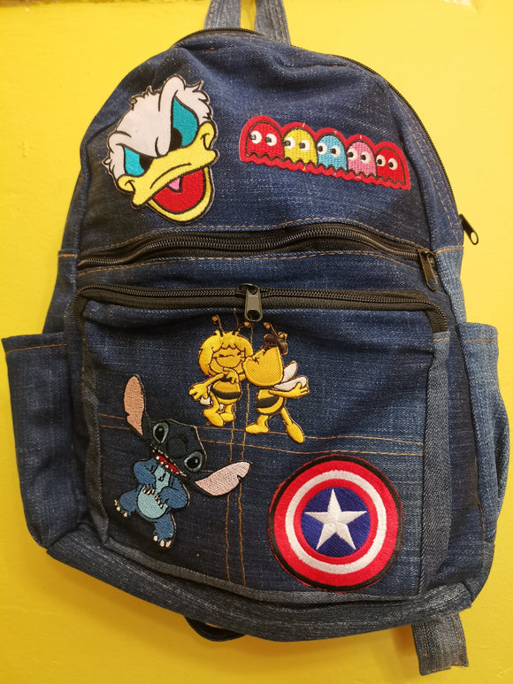 Bag Recycled Denim backpack with patches 1 Iron on Kwaito Koeksister