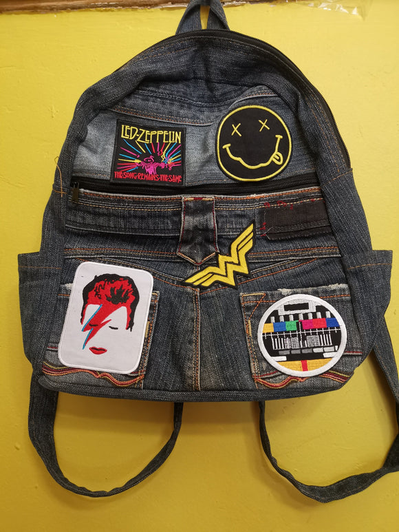 Bag Recycled Denim backpack with patches 12 Iron on Kwaito Koeksister