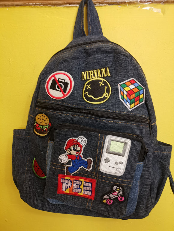 Bag Recycled Denim backpack with patches 13 Iron on Kwaito Koeksister