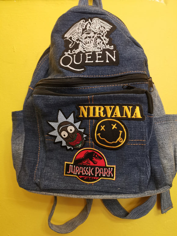 Bag Recycled Denim backpack with patches 2 Iron on Kwaito Koeksister