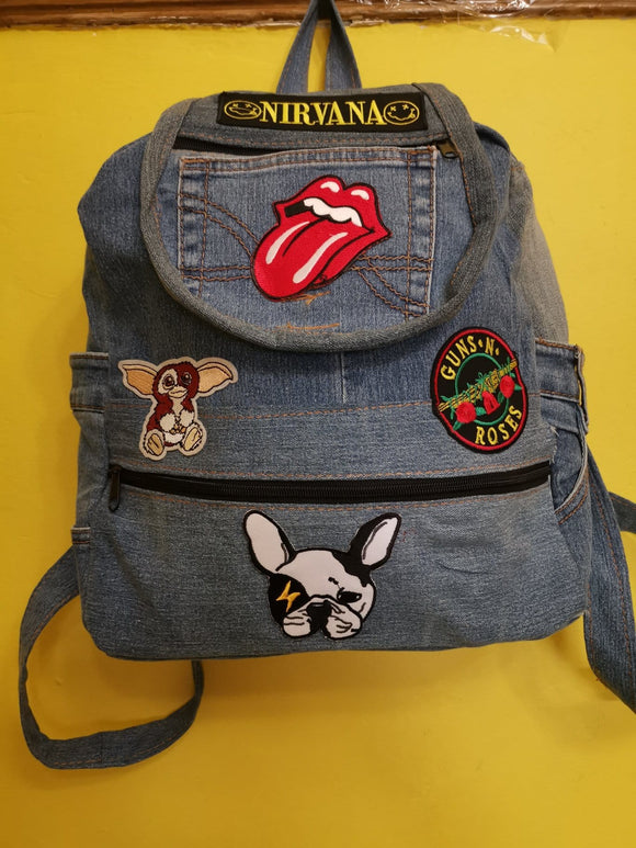 Bag Recycled Denim backpack with patches 21 Iron on Kwaito Koeksister