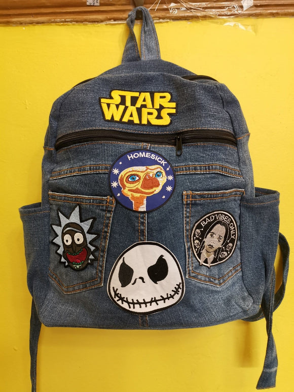 Bag Recycled Denim backpack with patches 25 Iron on Kwaito Koeksister
