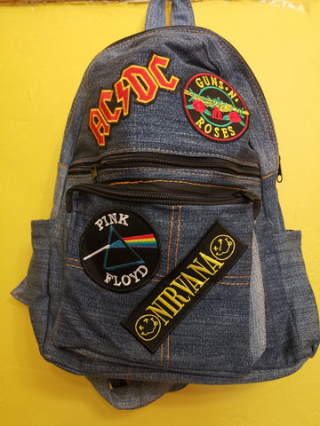 Recycled Denim backpack with patches 3 Iron on