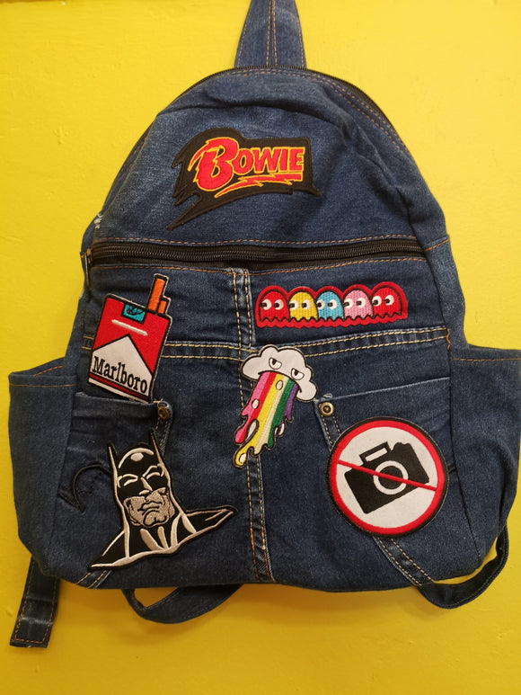 Bag Recycled Denim backpack with patches 4 Iron on Kwaito Koeksister
