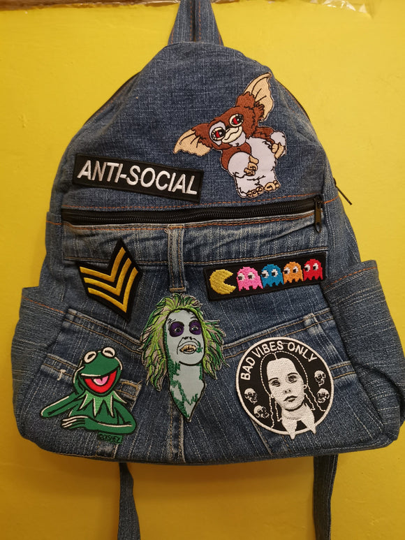 Bag Recycled Denim backpack with patches 5 Iron on Kwaito Koeksister
