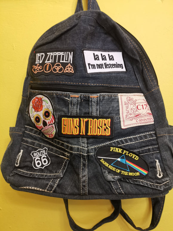 Bag Recycled Denim backpack with patches 6 Iron on Kwaito Koeksister