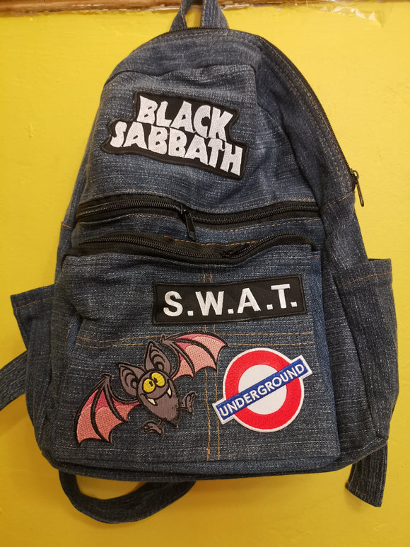 Bag Recycled Denim backpack with patches 7 Iron on Kwaito Koeksister
