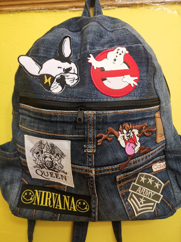 Bag Recycled Denim backpack with patches 8 Iron on Kwaito Koeksister