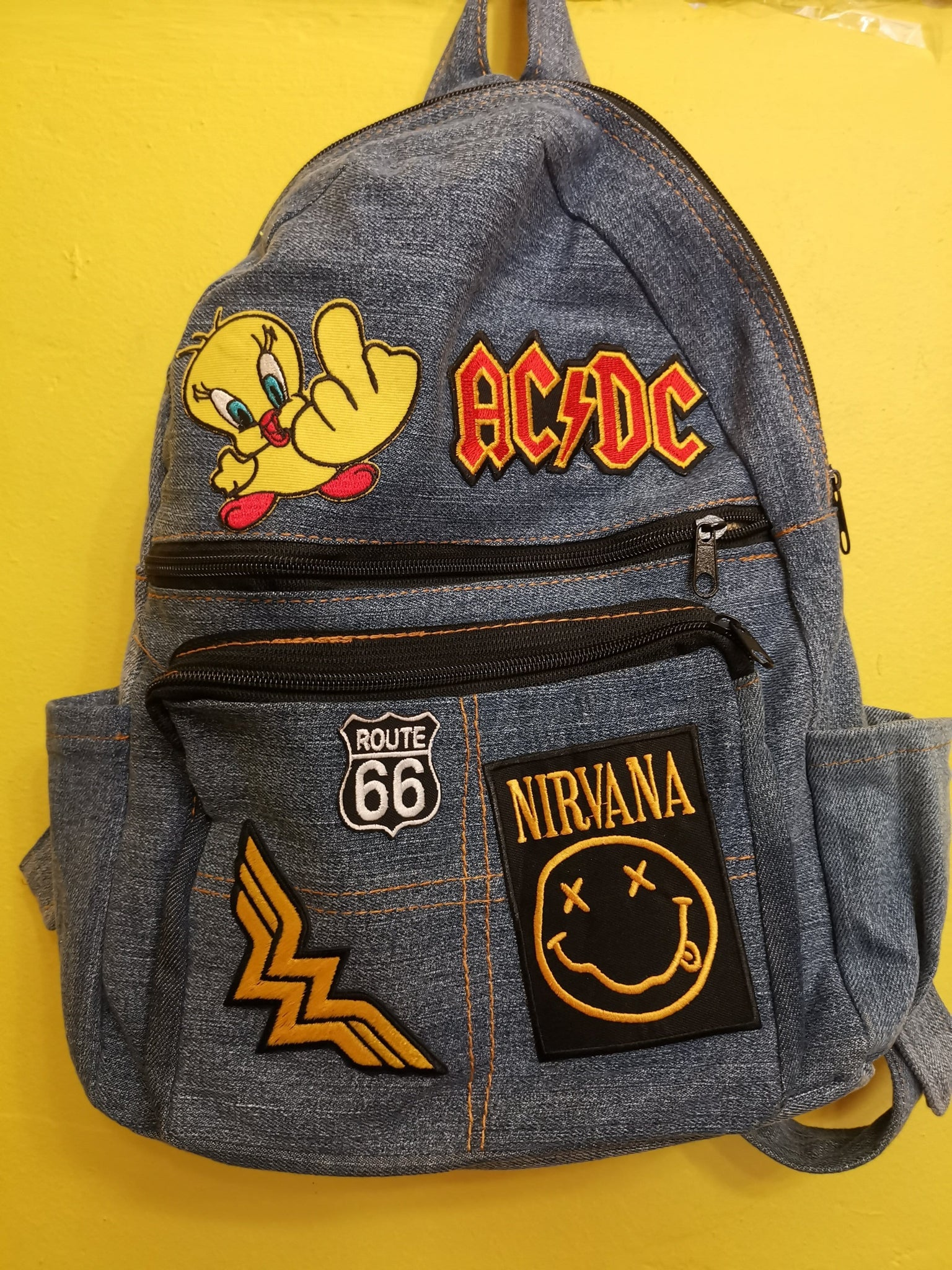 Recycled Denim backpack with patches 9 Iron on
