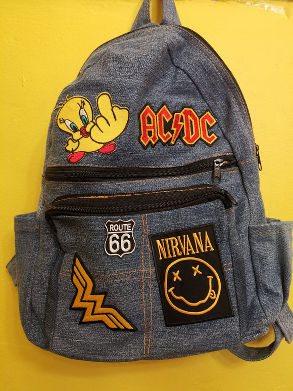 Bag Recycled Denim backpack with patches 9 Iron on Kwaito Koeksister