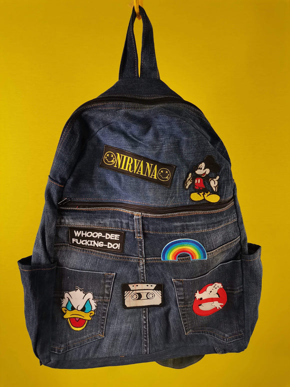 Bag Recycled Denim backpack with patches (Large) Kwaito Koeksister