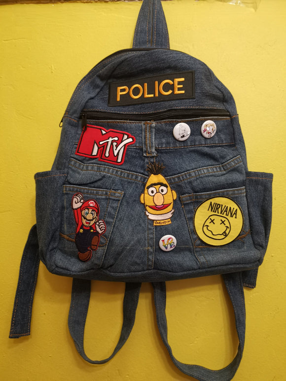 Recycled Denim backpack with patches & pins Bag Kwaitokoeksister