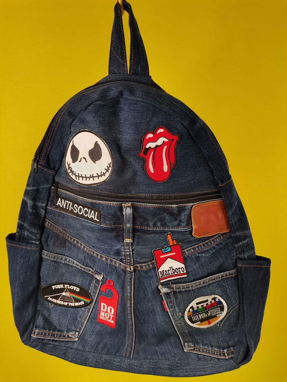 Bag Recycled Denim backpack with patches (Small) Kwaito Koeksister