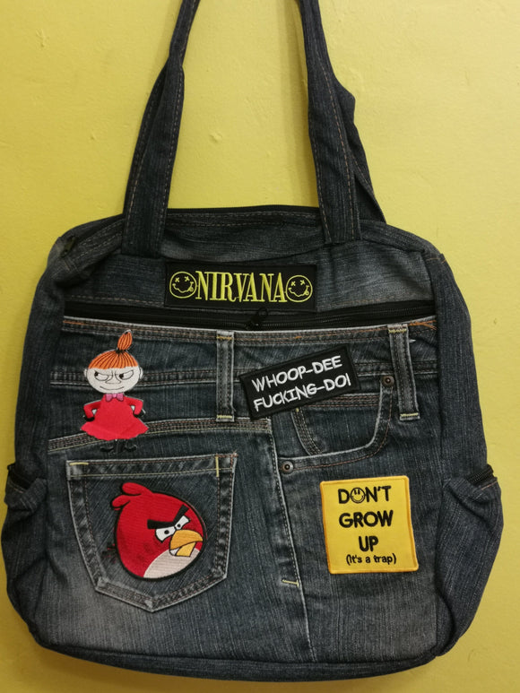 Bag Recycled Denim backpack with patches Kwaito Koeksister