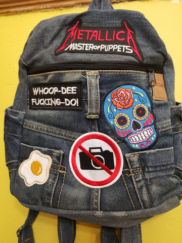 Recycled Denim backpack with patches