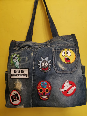 Recycled Denim Big carry bag with patches 26 Iron on