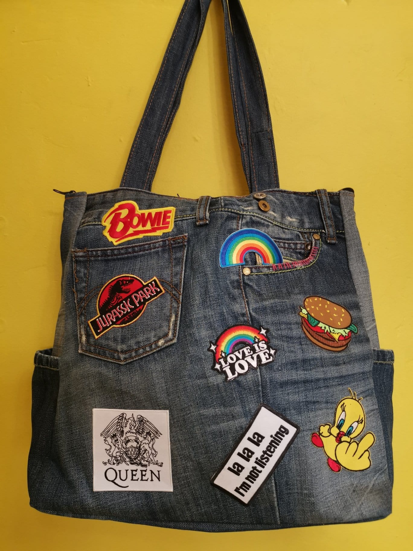 Recycled Denim Big carry bag with patches 28 Iron on