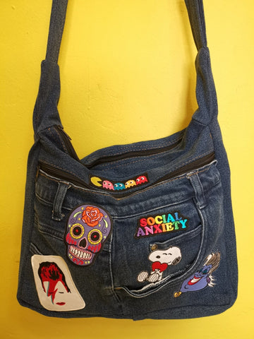 Recycled Denim Sling Handbag with patches 22 Iron on