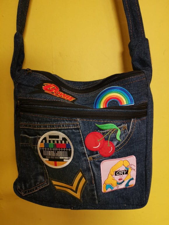 Bag Recycled Denim Sling Handbag with patches 23 Iron on Kwaito Koeksister