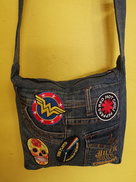 Bag Recycled Denim Sling Handbag with patches 24 Iron on Kwaito Koeksister