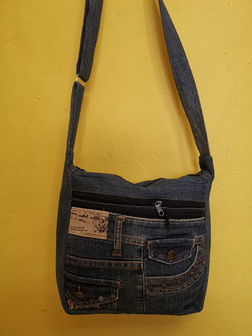 Recycled Denim Sling Handbag with patches 24 Iron on