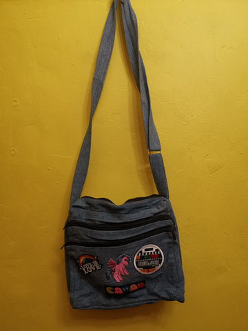Recycled Denim Sling Handbag with patches 33 Iron on
